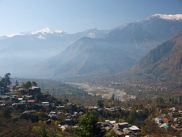 The Himalayas seen from Kullu Valley, Himachal Pradesh, India