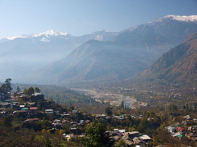 The Himalayas seen from Kullu Valley, Himachal Pradesh, India