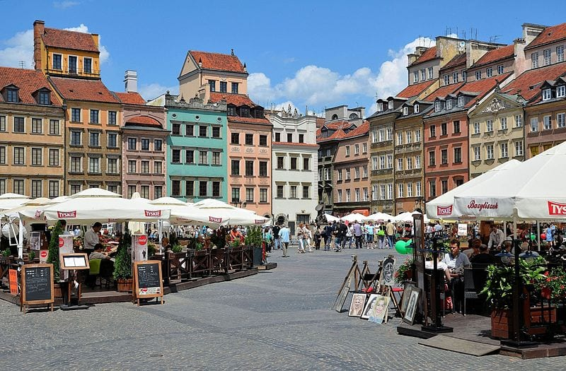 Market Square in the Warsaw's old town, Poland