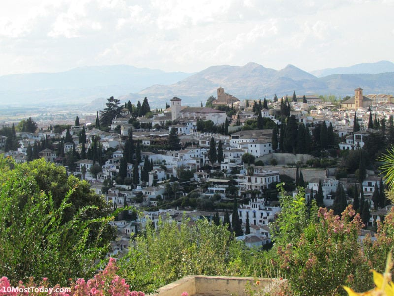 The white houses of Granada, seen from the famous Alhambra palace, the most visited site in all of Spain