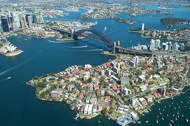 Sydney, Australia. Australia has the 7th longest coastline