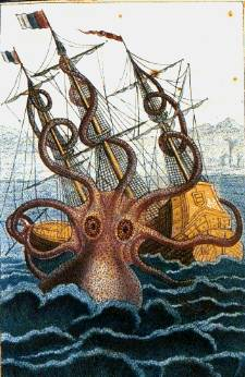 A drawing of a Colossal Octopus sinking a boat, by Pierre Denys de Montfort, 1810