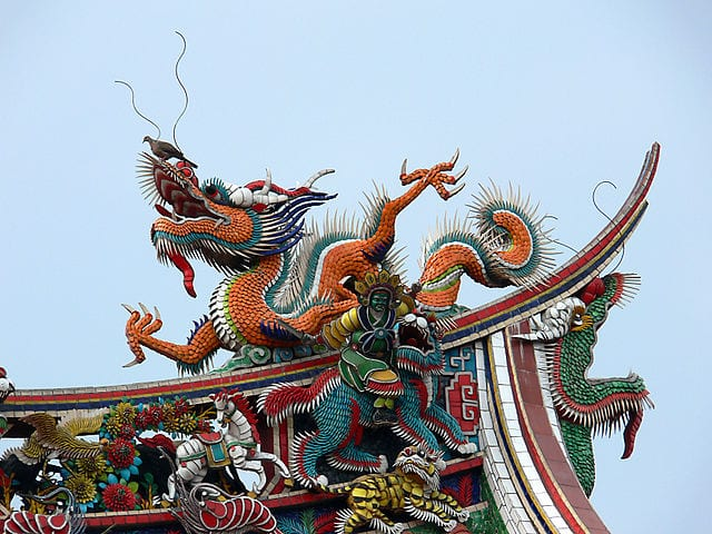 A colorful Dragon sculpture on top of Longshan Temple, Taipei, Taiwan
