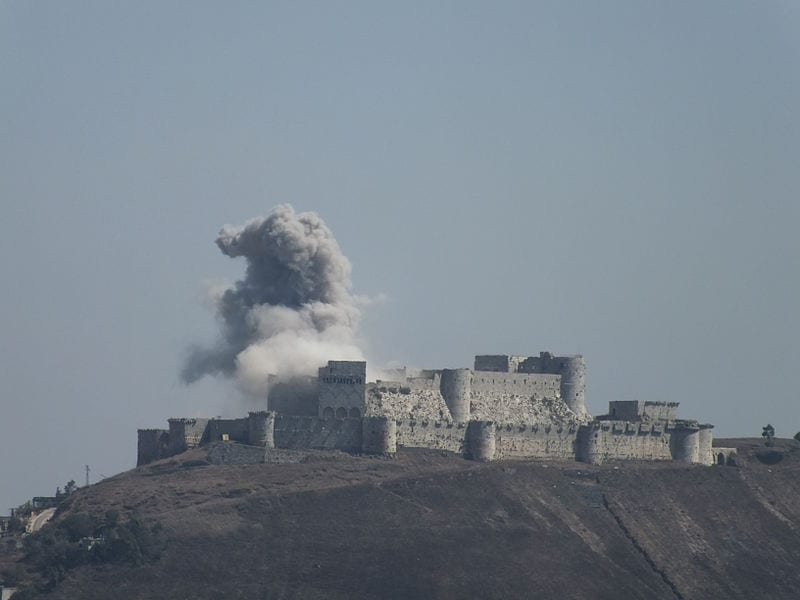 Smoke coming out from the Krak des Chevaliers castle during the war in Syria, 18 August 2013