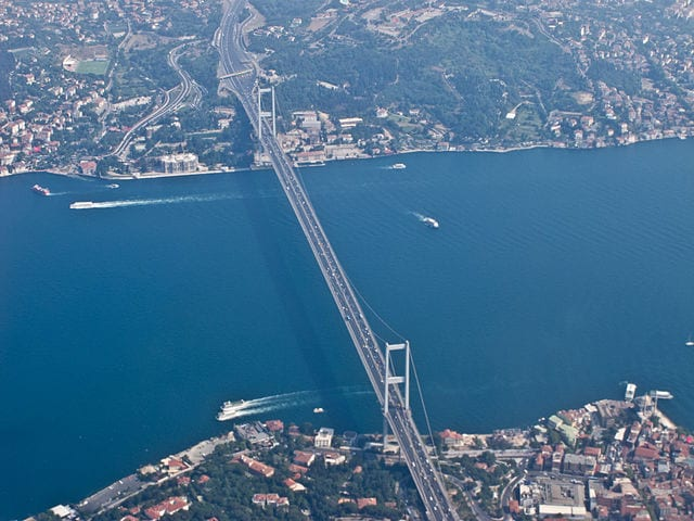 The Bosphorus Bridge in Istanbul, Turkey - Connects Europe and Asia
