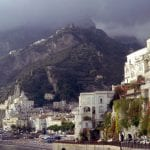 The town of Amalfi beneath lowering skies.